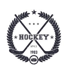 hockey vintage emblem logo vector image vector image