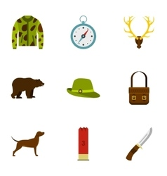 Hunting icons set flat style vector image