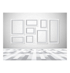 Interior picture frames on white wall vector image