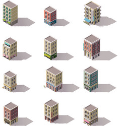 isometric buildings set vector image