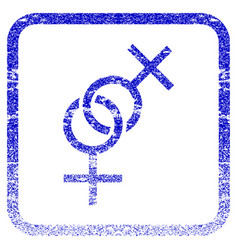 Lesbian love symbol framed textured icon vector