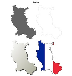 Loire rhone-alpes outline map set vector
