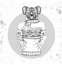 Retro hipster animal koala dressed in pullover vector