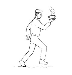 Retro waiter running serving coffee drawing vector