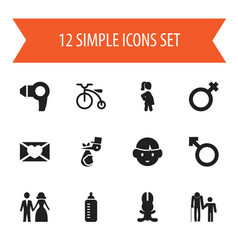 Set of 12 editable family icons includes symbols vector