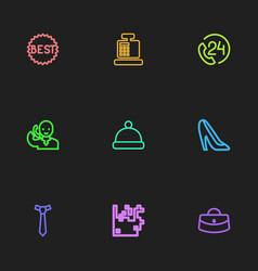 set of 9 editable trade outline icons includes vector image