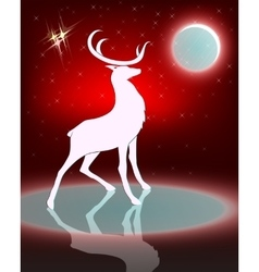 Silhouette of a deer with the bright moon vector