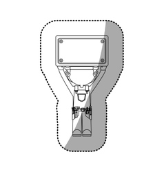 sticker contour cartoon worker with toolkit and vector image