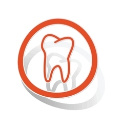 Tooth sign sticker orange vector