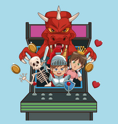 Videogames characters cartoons on arcade vector