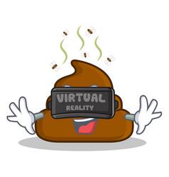 Virtual reality poop emoticon character cartoon vector