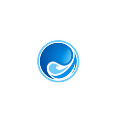 Water wave round abstract logo vector