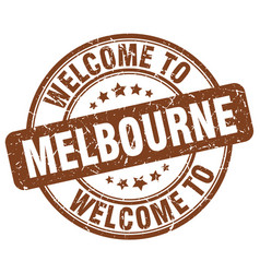 Welcome to melbourne brown round vintage stamp vector
