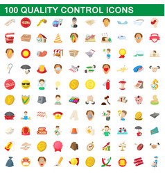 100 quality control icons set cartoon style vector