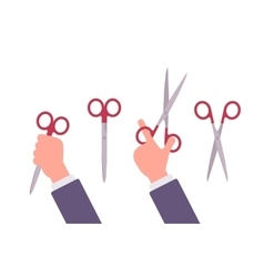 Hand holds scissors vector
