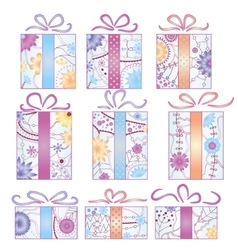 Christmas gifts set gradient isolated vector