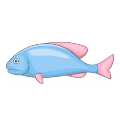 Blue fish with pink fins icon cartoon style vector