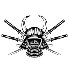 Samurai helmet and crossed katanas vector