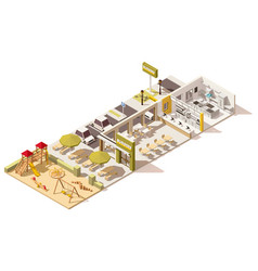 isometric low poly fast food restaurant vector image