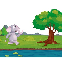 An elephant at the riverbank vector