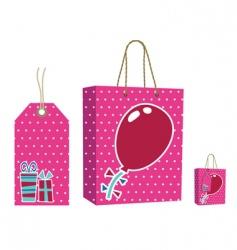 pink bag and tag set vector image