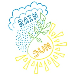 Sun-rain background vector