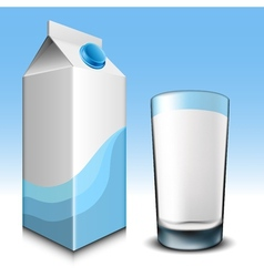 Milk carton with glass vector