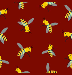 bee pattern on brown background vector image
