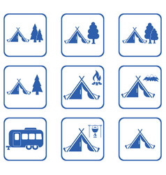 Set of tylized icons of tourist tent vector