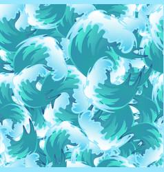 Sea blue water wave seamless pattern ocean border vector