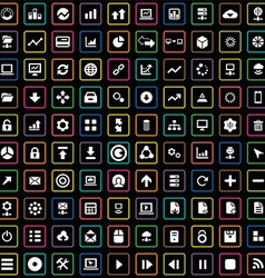 100 big data database icons set vector