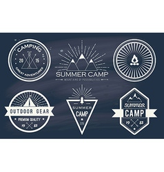 Set of vintage summer camp badges and other vector