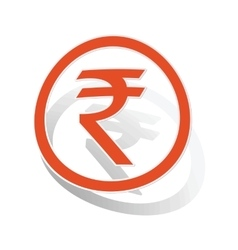 Indian rupee sign sticker orange vector