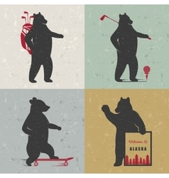 Set sign fun bears vector