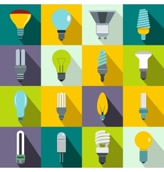 Light bulb icons set flat style vector