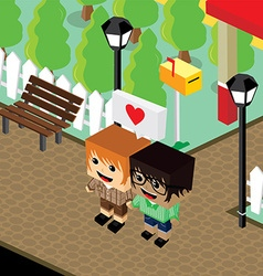 Cartoon life couple lover isometric theme vector