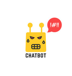 Angry yellow chatbot icon on white background vector