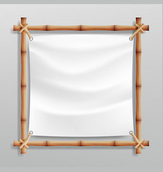 bamboo frame with white canvas wooden vector image