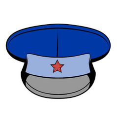 Blue military hat with star icon cartoon vector