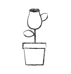 Blurred silhouette drawing rosebud with leaves and vector