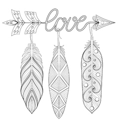 Bohemian arrow hand drawn amulet wih word love vector