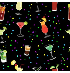 Cocktail and confetti party black seamless pattern vector
