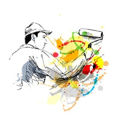 Colored hand sketch decorator vector