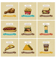 cooking collection fast food pizza and burger vector image vector image
