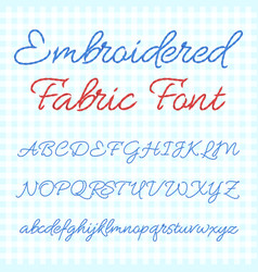 embroidered fabric font with calligraphic letters vector image vector image