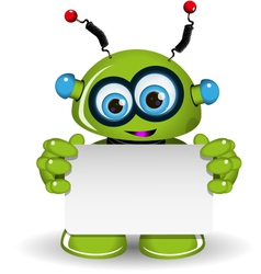 Green Robot And White Background vector image vector image