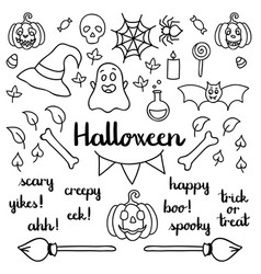 halloween set of things and words isolated doodle vector image vector image