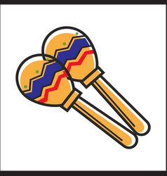 mexican colorful maracas closeup graphic vector image vector image