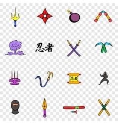 Ninja set icons vector