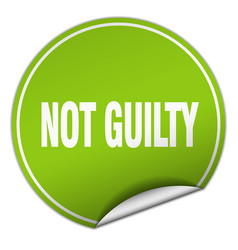 Not guilty round green sticker isolated on white vector